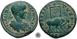 Roman provincial currency - Image: As Elagabalus 218 leg 3 Gallica