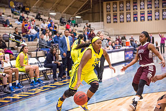 Texas A&M–Commerce Lions - The TAMUC women's basketball team in action against TWU in 2015