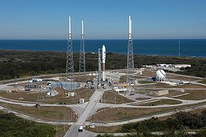 Cape Canaveral Air Force Station Space Launch Complex 41 - An aerial view of SLC-41. The Atlas V on the pad is the one used to launch New Horizons to Pluto.