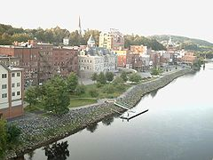 Kennebec River flowin past dountoun Augusta in September 2006