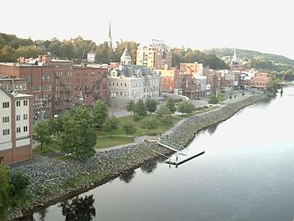 Augusta, Maine - Kennebec River flowing past Downtown Augusta