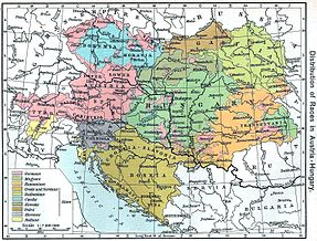 Map of Austria-Hungary in 1911, showing areas inhabited by ethnic Germans in pink