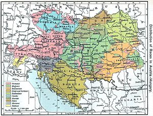 "State of Slovenes, Croats and Serbs - ""Distribution of Races in Austria–Hungary"" from the Historical Atlas by William R. Shepherd, 1911, indicating those areas inhabited by Slovenes, Croats and Serbs. Most of those territories were included in the State."