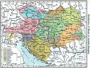 La distribuzione delle diverse nazionalità nell'impero austro-ungarico in base al censimento del 1910