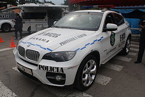 Panamanian Public Forces - A BMW X6, one of several deluxe vehicles, impounded in high-profile cases converted to patrol vehicle of the National Police force.
