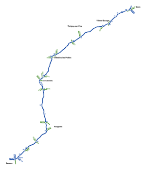 A84 autoroute - Map of the A84.