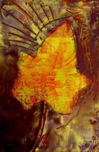 Encaustic painting - Autumn Leaf encaustic painting by Mitzi Humphrey