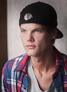 Avicii wearing a red flannel shirt over a grey t-shirt. He wears a black baseball cap facing backwards. It bears the NHL's Chicago Blackhawks logo.