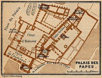 Palais des Papes - Plan of the palace in 1914.