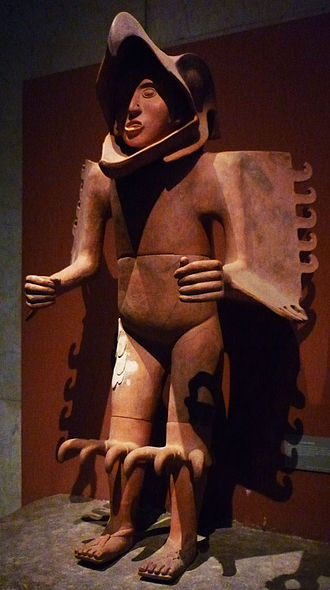 Aztecs - Large ceramic statue of an Aztec eagle warrior