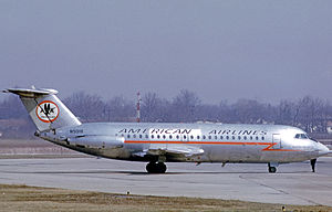 History of American Airlines - American Airlines BAC 1-11 short haul jet airliner at Cleveland Hopkins Airport in 1971 wearing the early jet era color scheme