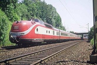 Karwendel (train) - VT 11.5 in DB Touristik livery, Munich (1986)