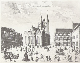 Anton August Beck - Copperplate engraving of the Old Town Market in Braunschweig with St. Martin's church by Anton August Beck, 1776