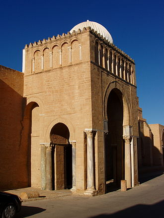 Gate - A monumental gate of the Great Mosque of Kairouan also known as the Mosque of Uqba, in Kairouan, Tunisia.