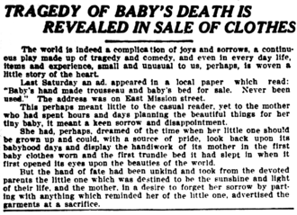 For sale: baby shoes, never worn - This May 16, 1910 article from The Spokane Press recounts an earlier advertisement which struck the author as particularly tragic.