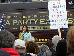 Prelude to the Republican Party presidential primaries, 2012 - Michele Bachmann speaks at a rally. She was propelled in the race with support from the Tea Party movement.