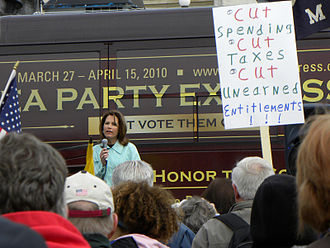 Michele Bachmann - Bachmann addressing a Tea Party Express rally in Minneapolis