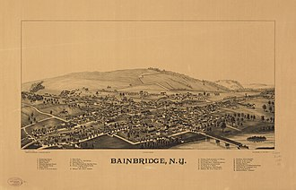 Bainbridge, New York - Lithograph of Bainbridge from 1889 by L.R. Burleigh including a list of landmarks