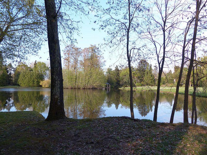 Arboretum de Balaine (Villeneuve-sur-Allier, France). Le lac. On peut deviner la façade du château au fond à droite.