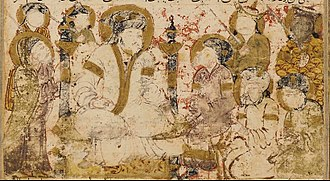 Abbasid Caliphate - Folio from Tarikhnama depicting al-Saffah as he receives pledges of allegiance in Kufa.