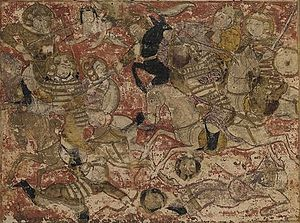 First Fitna - Combat between the forces of Ali and Muawiyah I during the Battle of Siffin, from the Tarikhnama.
