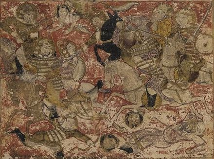 Illustration of the Battle of Siffin, from a 14th-century manuscript of the Tarikh-i Bal'ami. Balami - Tarikhnama - Battle of Siffin (cropped).jpg