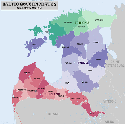 The Baltic German-controlled Baltic governorates in the Russian Empire - comprising current Northern Estonia, Southern Estonia and Northern Latvia BalticGovernorates1914.png
