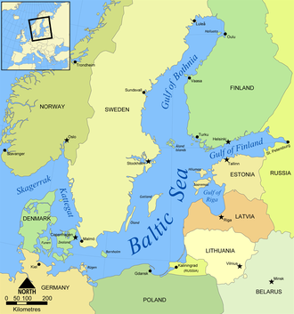 Gulf of Bothnia - Map of the Baltic Sea, showing the Gulf of Bothnia in the upper half
