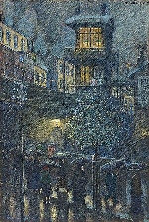 Hans Baluschek - Rain, 1917