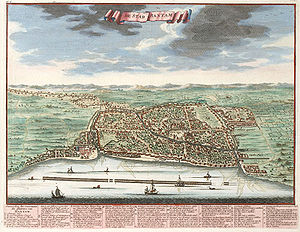 Banten (town) - Banten city from illustration c. 1724.
