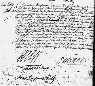 Louis Lully - Document of baptism of Louis (signed by Louis XIV., Marie-Thérèse d'Autriche and by Jean-Baptiste Lully)
