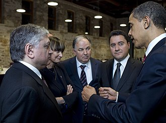 Micheline Calmy-Rey - Calmy-Rey speaks to United States President Barack Obama, along with Turkish and Armenian foreign ministers.