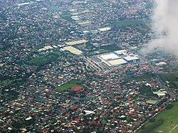 Las Piñas aerial photo along Barangays Talon and Almanza. SM Southmall at center