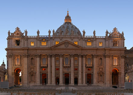 Saint Peter's Basilica in Vatican City Basilica Sancti Petri blue hour.jpg