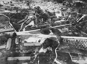 History of Sarawak - Aerial view of Batu Lintang POW camp; photo taken on or after 29 August 1945.