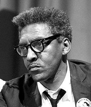 Bayard Rustin - Rustin at a news briefing on the Civil Rights March in Washington, D.C., on August 27, 1963