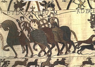History of heraldry - Proto-heraldic shield decorations shown in the Bayeux Tapestry (c. 1077).