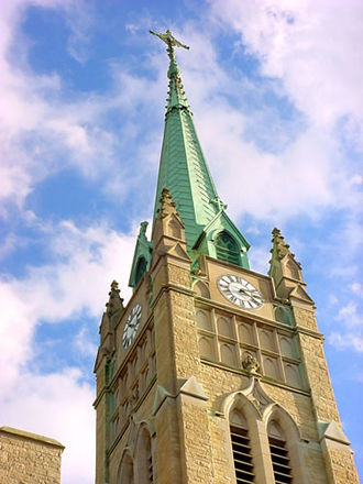 Cathedral of Saint Peter (Belleville, Illinois) - The cathedral's spire