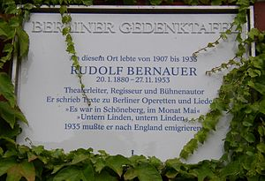 Rudolf Bernauer - Berlin plaque at former residence site of Rudolf Bernauer in Berlin-Schöneberg.
