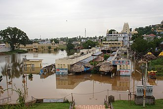 Godavari River - Bhadrachalam Temple during 2005 floods