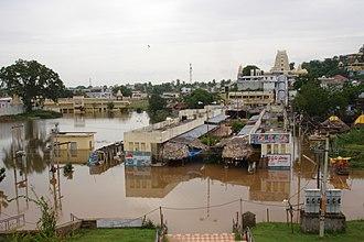 Godavari River - Bhadrachalam Temple during 2005 floods