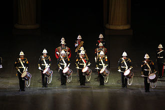 Berlin Military Tattoo - Drummers of the Royal Marines Band Service in the Berlin Tattoo.