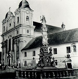 Jesuit Academy of Cluj - The Jesuit Church and the Academy (historical picture)