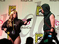 Black Canary & Green Arrow cosplayers at WonderCon 2010 Masquerade 3.JPG