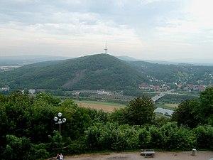 Wesergebirge - View from the Kaiser Wilhelm Monument (Wittekindsberg, Wiehen Hills) over Porta Westfalica to the Jakobsberg (Wesergebirge)
