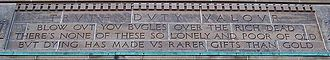 Rupert Brooke - Blow out your bugles, detail on Memorial Arch (by John M. Lyle) at Royal Military College of Canada