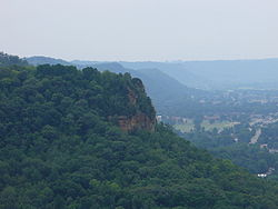 The Driftless Area of southwestern Wisconsin is characterized by bluffs carved in sedimentary rock by water from melting Ice Age glaciers.