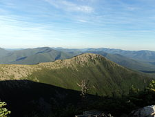Bondcliff at sunset, observed from West Bond, Pemigewasset Wilderness, White Mountains.JPG