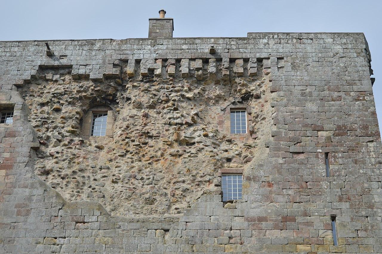 Cannon damage to the walls at Borthwick Castle