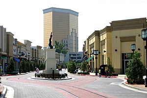 Bossier City, Louisiana - A central plaza of the Louisiana Boardwalk with the Horseshoe Hotel and Casino in the background